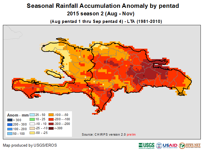 Figure 1. Seasonal Rainfall Accumulation Anomaly by pentad, August 1 – September 20, 2015.