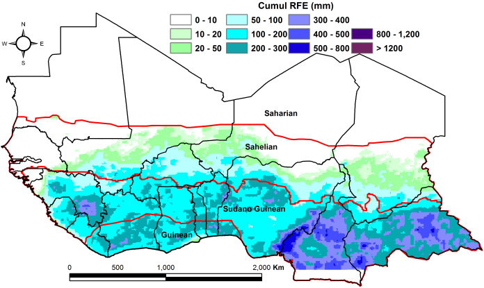 Figure 1. Total rainfall estimate (RFE) in mm, 1stdekad of April - 2nddekad of May