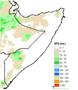 Map of estimated rainfall. Rainfall ranged from 1-20 mm in parts of the northwest and parts of the South, with localized areas receiving slightly more rainfall amounts of up to 50 mm.