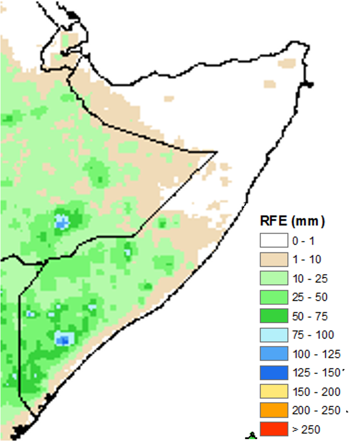 Map of rainfall accumulation in Somalia. Most of the South received 10 to 50 mm, with some pockets received heavier amounts of up to 75 mm. Up to 10 mm of rain fell in parts of the northwest and central regions. The rest of the country remained dry.