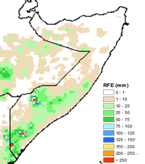 Map of Somalia depicting rainfall in mm. Northern and central Somalia received 0-10 millimeters of rainfall. In the South, rainfall ranged widely from 10 to 75 mm, though localized pockets received more than 75 mm.