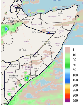 RFE2 map depicting rainfall accumulation in mm. Most of Somalia received no rainfall or less than 1 mm. Only in localized areas of Bay, Lower Shabelle, and the Jubas was rainfall estimated in excess of 10 mm.