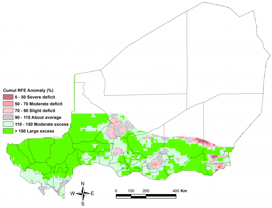 Figure 1. Cumulative rainfall estimate (RFE) anomaly for the period from April 1 to June 20 compared to the 2006-2015 average