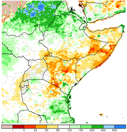 Figure 1. ARC2 seasonal rainfall estimate anomaly, percent of normal (1983-2009),  March 1-May 31, 2017