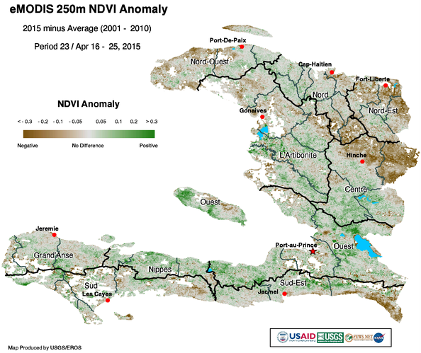 Figure 1. Normalized Difference Vegetation Index (NDVI) Anomaly, April 16-25, 2015