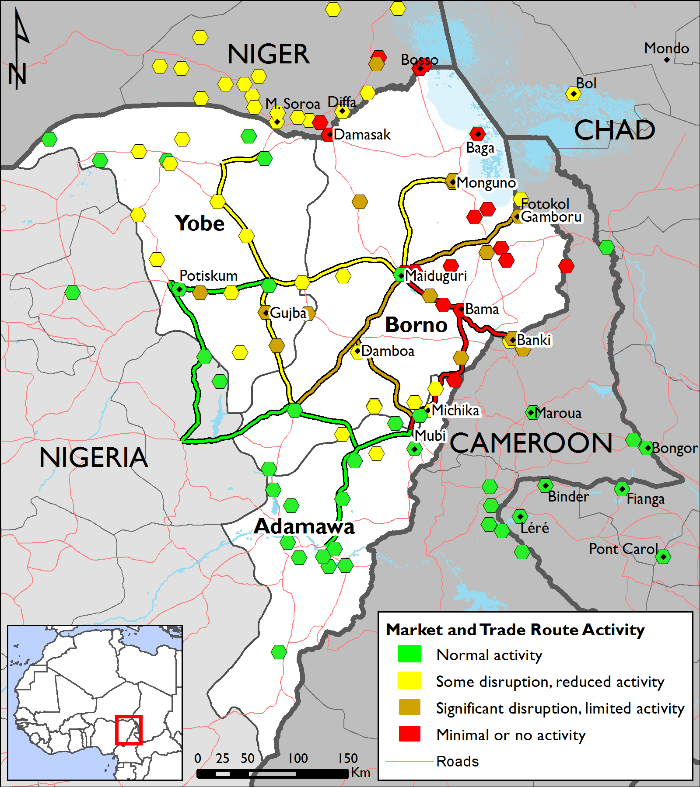 Lake Chad region market and trade route activity, October 2017