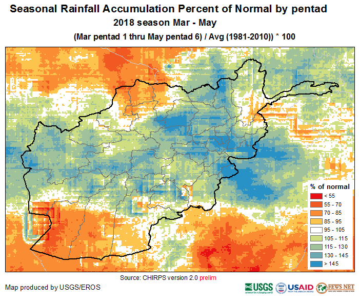 March 1 — May 30, 2018 percent of normal (1981—2010) precipitation accumulation.