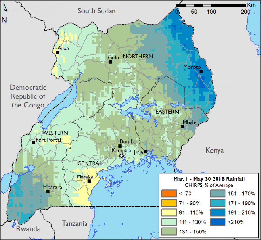 The map depicts rainfall over Uganda from March to May. In the northeast (Karamoja) and the far southeast, rainfall was far above average, around 170-210 percent of normal. In all other areas, rainfall was between 110 and 150 percent of normal.