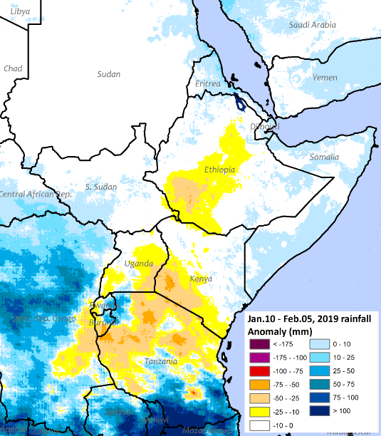 Rains are 10 to 50 mm below-average in southwestern Ethiopia, southwestern and eastern Uganda, western Burundi and Rwanda, and southern Kenya. In Tanzania, rains are 10 to 75 mm below average in north, but rains are more than 25 mm above average in south