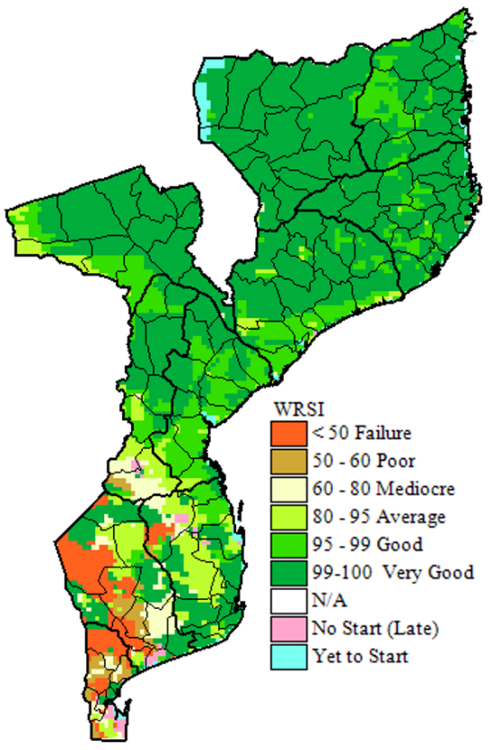 Water Requirement Satisfaction Index (WRSI) for maize grain, as of February 20, 2019