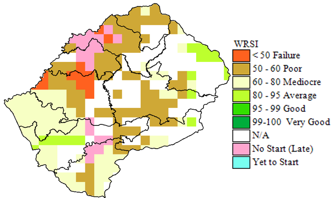 WRSI for maize (2018/19 season), as of first week of February 2019, extended to July 2019