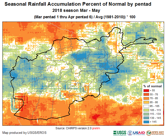 March-April percent of normal (1981-2010) precipitation accumulation.