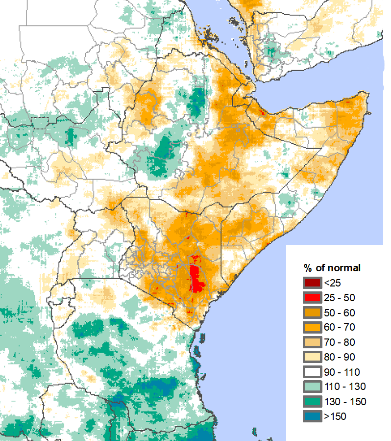 CHIRPS map of East Africa illustrating the preliminary rainfall performance as a percent of the 1981-2010 mean, from March 1 to May 31, 2019.