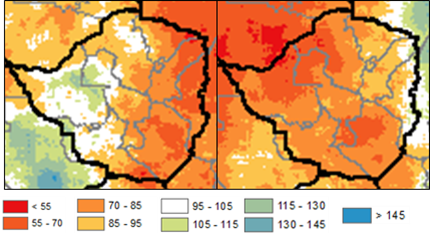 Figure 1. Rainfall according to CHIRPS data from the October to May period for 2015/16 (Left) and 2018/19 (Right). The Rainfall deficits associated with the 2015/16 drought are more severe in the western areas of the country with the most wide spread rainfall deficits during the 2018/19 season.