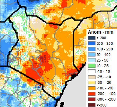 Map of rainfall accumulation anomaly across Kenya