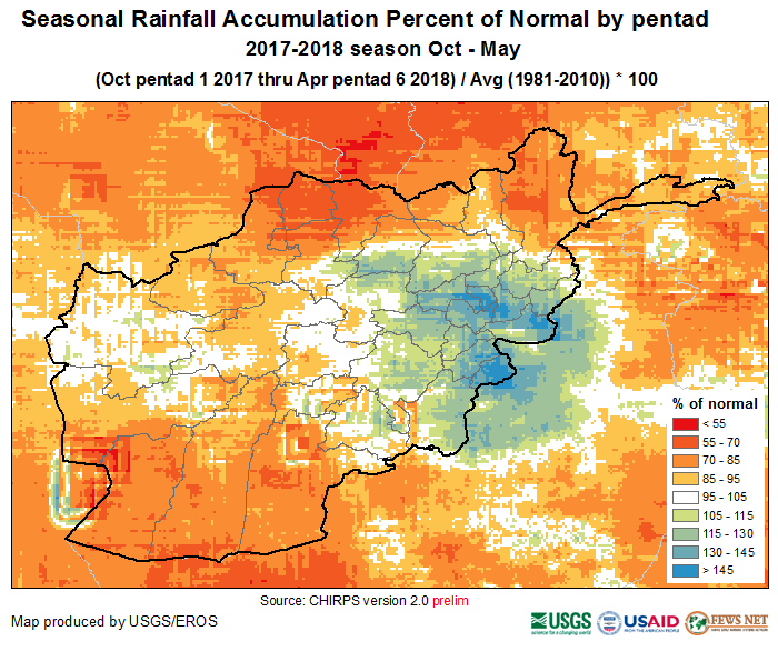 Percent of normal seasonal precipitation accumulation, October 1 2017-April 30 2018 (1981-2010 average).