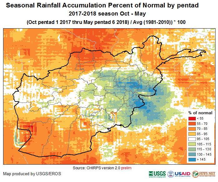 October 1, 2017—May 30, 2018 percent of normal (1981—2010) precipitation accumulation.
