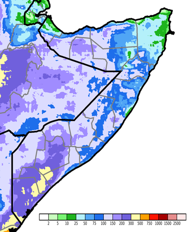 Map of cumulative rainfall from April 1 to June 30, 2019 in millimeters. According to CHIRPS satellite data and supported by ground information, most of the Northwest and South and parts of central Somalia received 100-300 millimeters of cumulative rainfall (Figure 1). In the Northeast, the coastal Northwest, and much of central Somalia, cumulative rainfall was 25-100 mm.