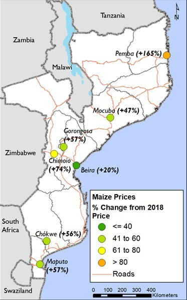 Figure 2.  Maize price percent change in April 2019 compared to April 2018 prices. Generally maize grain prices across the country are decreasing or stable, although are 30 percent above the five-year average and 50 percent above last year's prices (Figure 2).