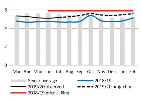Graph of maize meal price projection
