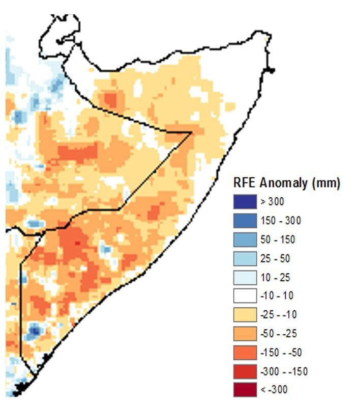Estimated rainfall anomaly, October 21 to 31 compared to average. Most of the country has rainfall deficits of -10 to -50 mm. Some areas in the South and a pocket of the northwest have deficits of -50 to -150 mm. The northeast and central had average rain