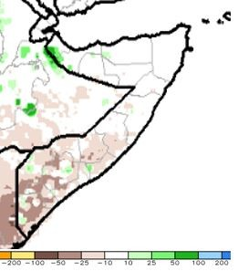 Map of estimated rainfall anomaly in mm. Rainfall was generally climatologically average in northern and north-central Somalia. Rainfall was generally below average in southern and south-central Somalia.