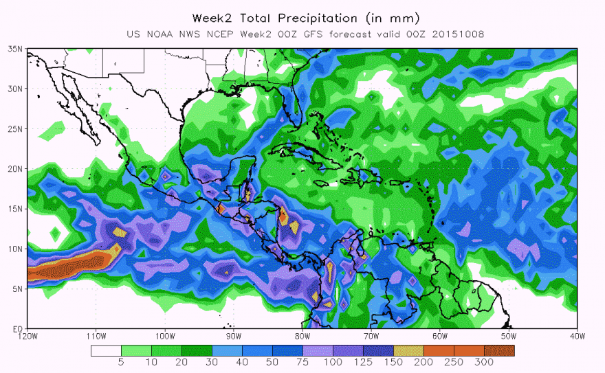 Figure 2.  Rainfall Forecast valid until October 8, 2015.