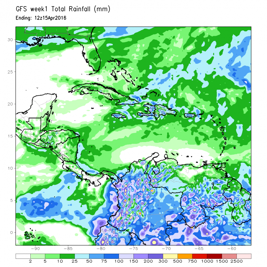 Figure 2. GFS Rainfall Forecast, through April 15, 2016
