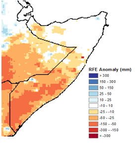 Map of estimated rainfall anomalies in mm. Rainfall was 10 to 150 mm below the 2005-2009 mean across southern and south-central Somalia, as well as in parts of the Northwest.