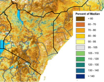 Map of Kenya depicting vegetation anomalies. Vegetation is less than 60 percent of normal in the south. Elsewhere, anomalies vary from 60 to 90 percent of normal, with a few positive vegetation anomalies observed across the north.