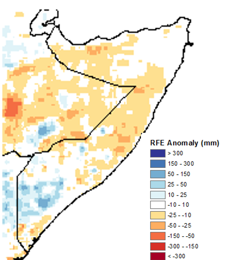Map of rainfall anomalies in Somalia. Cumulative rainfall was 10 to 25 mm below average in the northwest and central regions. In the South, rainfall was generally average to above average.