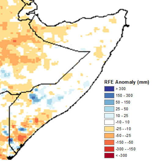 Map of Somalia depicting rainfall anomaly in mm. Rainfall was climatologically average across most northern and central areas and parts of the South, but ground information currently indicates that conditions are drier and worse than usual. In the Northwest and South, rainfall was generally 10-50 mm below average.