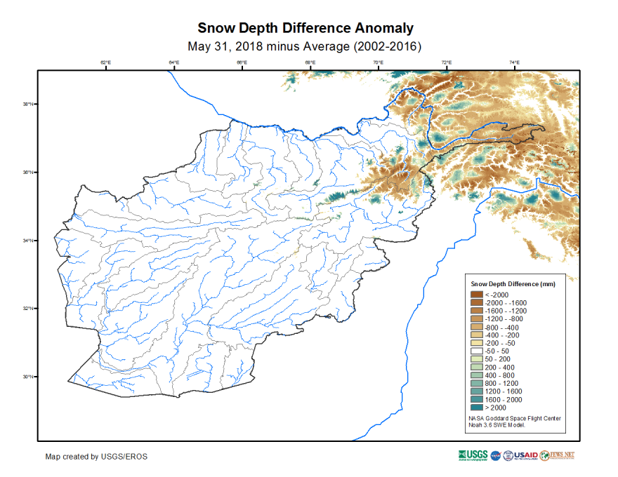 Snow depth difference from average in mm on May 31, 2018 (2002—2016 average).