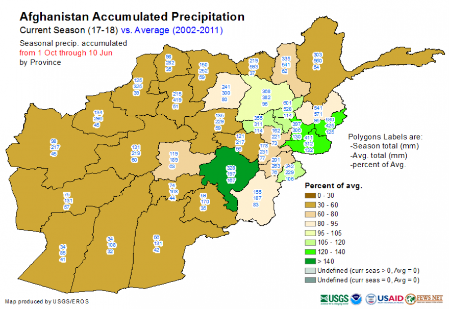 Accumulated precipitation, October 1, 2017 to June 10, 2018