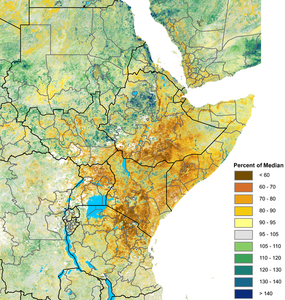 Deficits of 20 to 40 percent or more are pervasive in northern Uganda, Kenya, southern Somalia, and central and southern Ethiopia. Above-average vegetation is visible in the Sudans and northwestern Ethiopia.