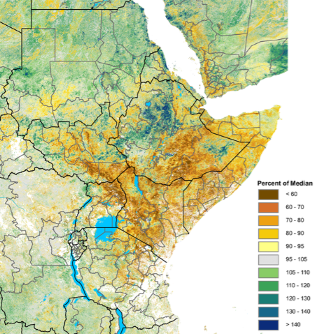 Map depicting NDVI as a percent of the 2007-2016 median from May 1st to May 20th. Vegetation is below 60 percent of normal in southeastern Ethiopia, parts of southern Somalia, most of western and northern Kenya, and northwestern Uganda. Less severe deficits are widespread. However, western and northern Ethiopia have above-average vegetation, while Rwanda, Burundi, eastern Tanzania, and coastal Kenya have average vegetation.