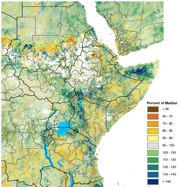 Map of vegetation conditions, AUgust 1-10, 2019, as a percent of the 2007-2016 median. Significantly greener-than-normal vegetation conditions are present in northeastern Tanzania and much of the Rift Valley and western regions of Kenya as well as in northeastern Uganda, South Sudan, parts of Ethiopia, and northern Somalia.  Negative vegetation anomalies are present in  central-northern Sudan, south-central Somalia, eastern Kenya, parts of Ethiopia, and much of Tanzania.
