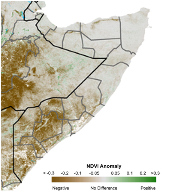 Map of anomalies in vegetation conditions, measured by NDVI. Large, extensive deficits are observed across the South, and negative anomalies are also observed in parts of central and northeastern Somalia