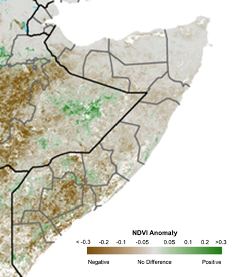 Map depicting vegetation conditions as the NDVI anomaly across Somalia. Negative anomalies indicating vegetation deficits are still observed across most of the country. However, some positive anomalies are emerging in the south.