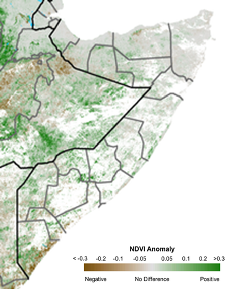 Map depicting vegetation conditions by anomaly from the short-team median. Vegetation conditions are mostly normal, though some negative anomalies persist in the South, especially along the coast.