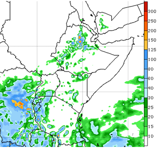Light to moderate rain in western Ethiopia. Moderate to heavy rainfall in Tanzania's western and coastal regions, Rwanda, Burundi, and southern Uganda. Localized rainfall is likely in parts of northeastern and southeastern Kenya