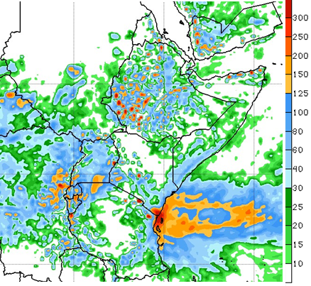 Map depicting the rainfall forecast through May 23rd. Rainfall is forecast to be moderate to heavy in Ethiopia, western Yemen, coastal Kenya, coastal Tanzania, south coastal Somalia, Uganda, Rwanda, and Burundi. Central Tanzania, large parts of Kenya, and northern Somalia are forecast to remain dry. Light to moderate rainfall is forecast in South Sudan and southern Sudan.