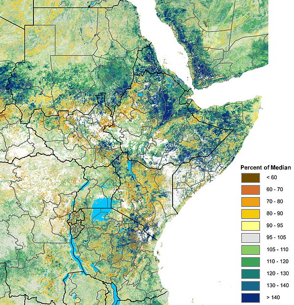 eMODIS/NDVI map of East Africa illustrating the latest vegetation anomalies from June 11 to 20, 2019.