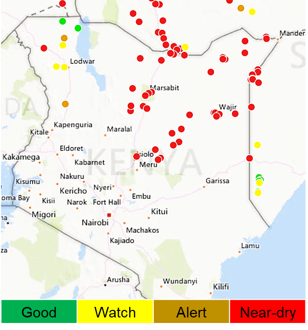 Map showing surface water point availability in Kenya