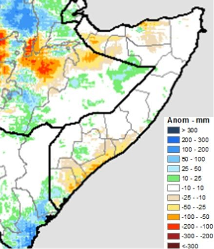 Many areas received little to no rainfall. Localized areas in Lughaya and Zeylac districts received unusual light to moderate rains and flash floods in September, and several southern agropastoral and riverine areas received light to moderate rain.