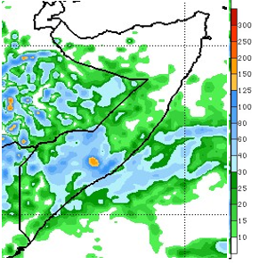 Map of rainfall forecast. Light (up to 30 mm) to moderate (up to 180 mm) is forecast across south-central Somalia and few parts of northern Somalia. The northeast, in particular, is forecast to remain dry.