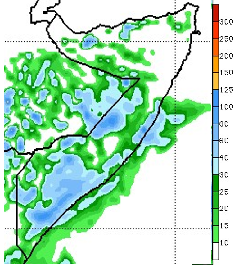 Rainfall forecast map from May 4th to May 10th. Moderate to heavy rainfall is forecast in southern and central regions. Some rainfall is also forecast in pockets of the north. However, most northern areas are forecast to remain dry.
