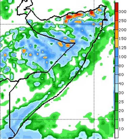 Map of Somalia depicting the rainfall forecast. The Climate Prediction Center's seven-day forecast calls for moderate to heavy rainfall ranging from 20 to 125 mm across most of central and northern Somalia and in large parts of Hiiraan and Bakool and in the Shabelle and Juba regions. However, dry conditions are likely to persist in most areas of Gedo and parts of Bay regions.