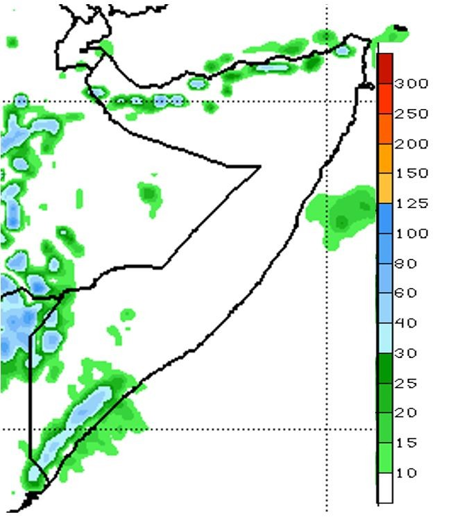 Map of the precipitation forecast for November 5 to 11. Rainfall ranging from 10 to 60 mm is predicted in northern coastal areas and some parts of Togdheer and Woqooyi Galbeed, as well as part of Gedo and Lower and Middle Juba.