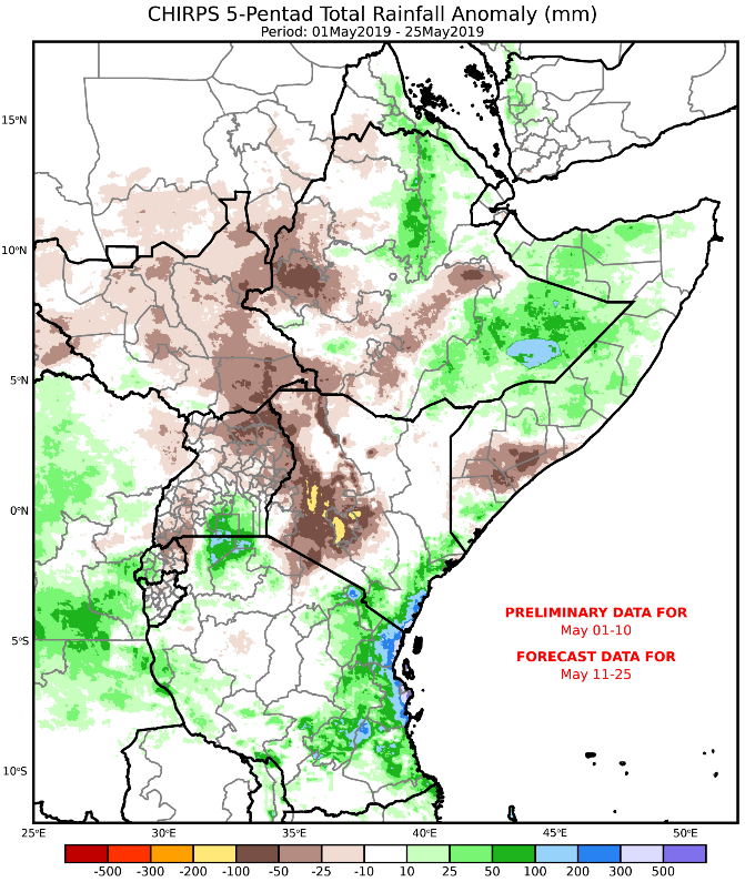 Map depicting actual plus forecast rainfall from May 1st to May 25th in mm, as a difference from the 1981-2018 average.  Rainfall is expected to be exceed the average for this period by 10 to 50 mm in northwestern and central Somalia, and by 10-100 mm in southeastern Ethiopia. Deficits of up to 100 mm are expected in western Ethiopia, South Sudan, northern Uganda, western Kenya, and southern Somalia.